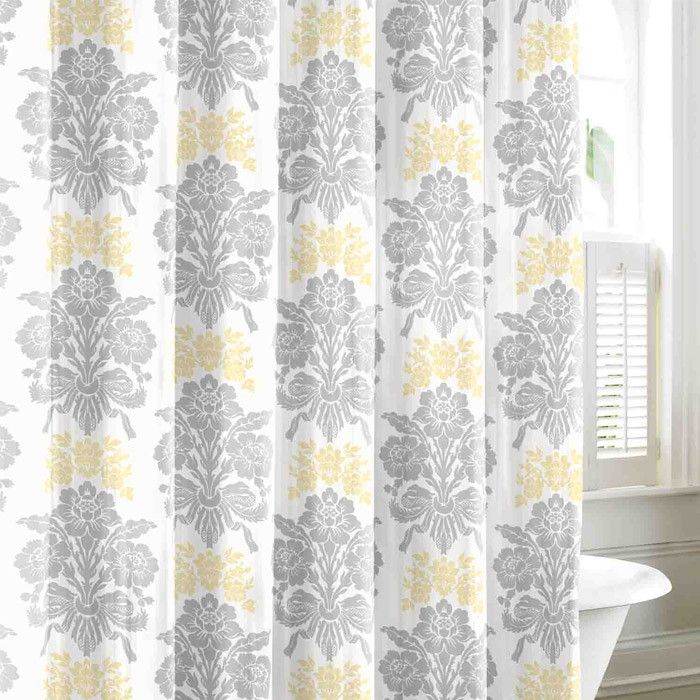 grey and aqua shower curtain. sunny and bright  grey yellow shower curtain Neat Stuff