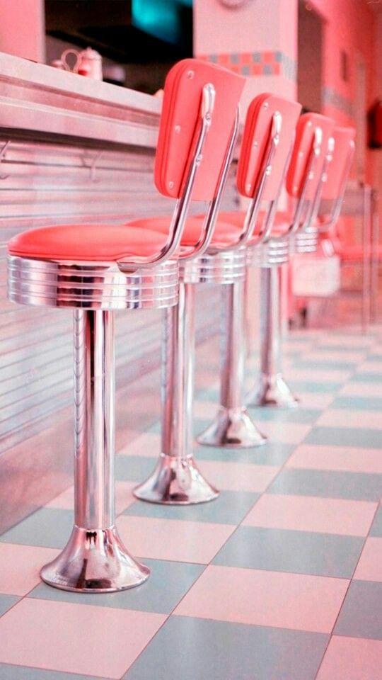 Pink Stools In A Retro Diner Vintage Diner Retro Diner Pink