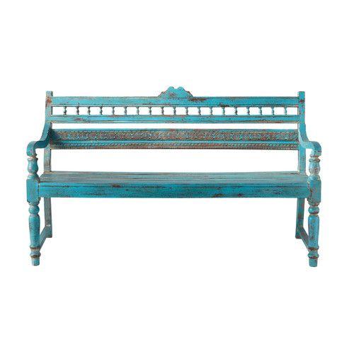 2 Seater Distressed Mango Wood Garden Bench Seat In Blue Maisons Du Monde Garden Bench Seating Garden Bench Outdoor Furniture