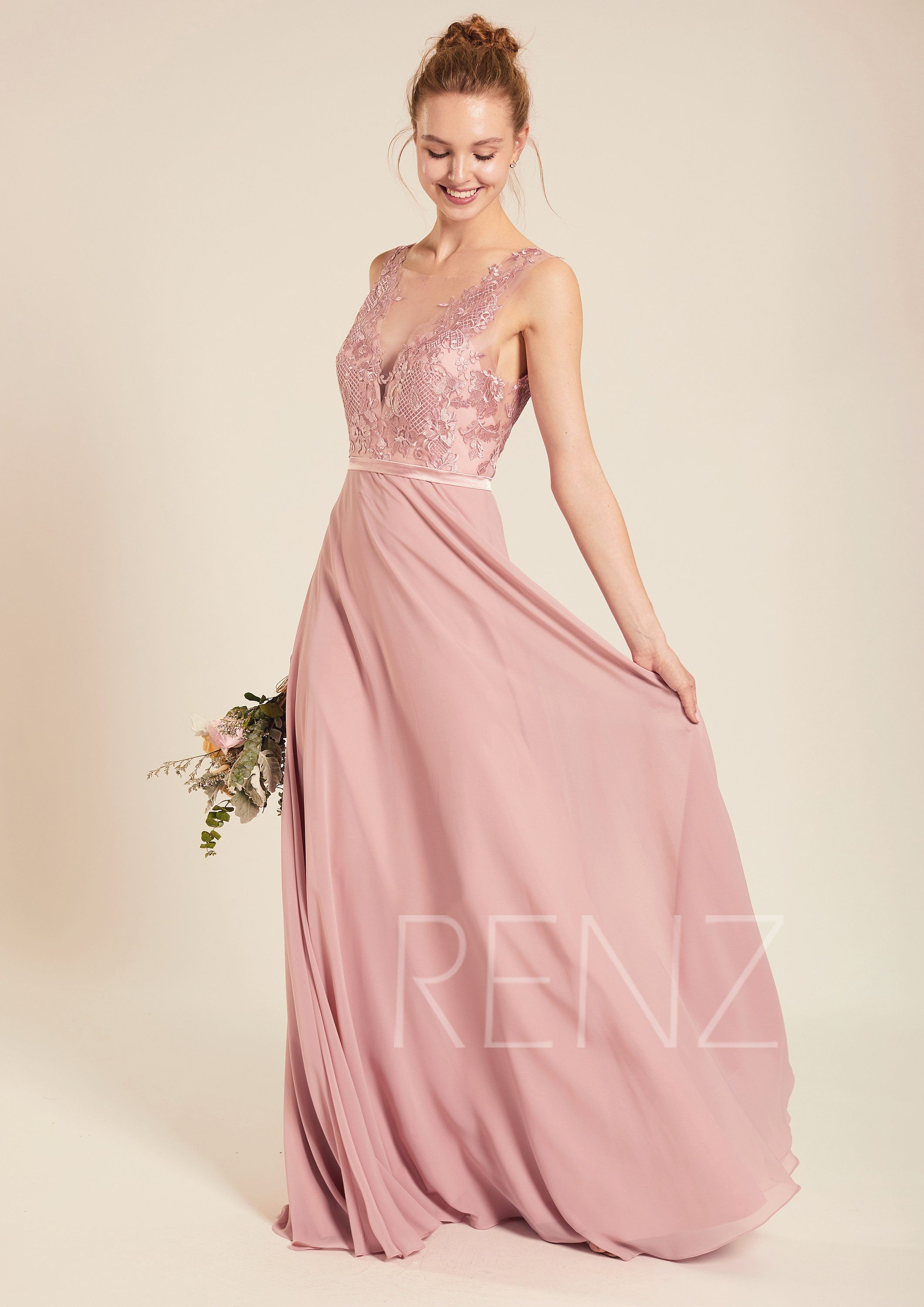 Bridesmaid Dress Dusty Rose Chiffon Dress Wedding Dress Illusion Lace V Neck Maxi Dress V Back Party Dress Sleeveless Evening Dress L397b In 2020 Altrosa Brautjungfernkleider Kleid Altrosa Und Illusion Kleid