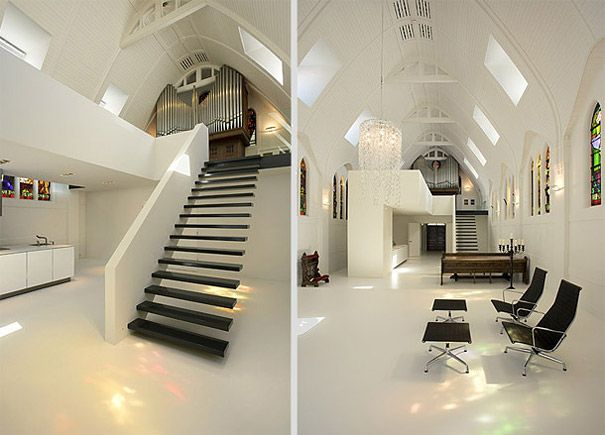 Churches Converted Into Modern Family Homes Apartment Redesign Church Interior Design Modern Apartment