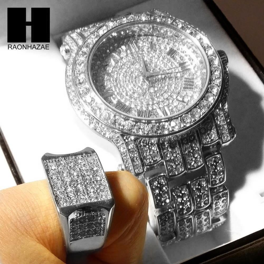Awesome amazing techno pave iced out white gold finished lab diamond