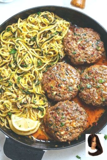 mittagessen 15 Easy Low Carb Keto Dinner Recipes for Busy Weeknights Cheesy garlic burgers with lemon butter zoodles low carb keto zucchini noodles Keto dinner recipes