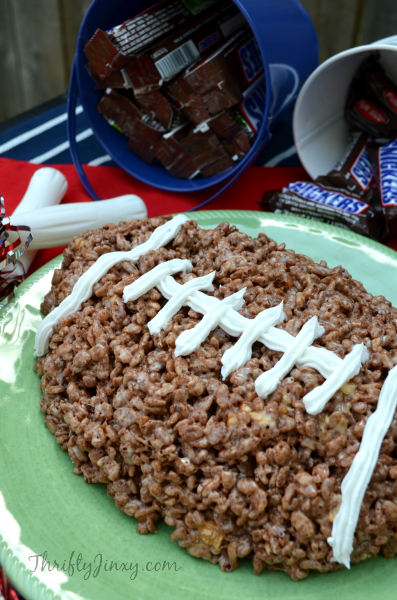 SNICKERS Rice Crispy Treat Football Recipe for Game Day This SNICKERS Rice Crispy Treat Football Recipe is the perfect chocolate dessert for Game Day!