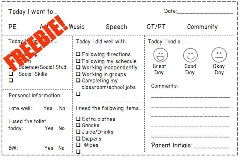 Parent Communication Printable Log Free Editable