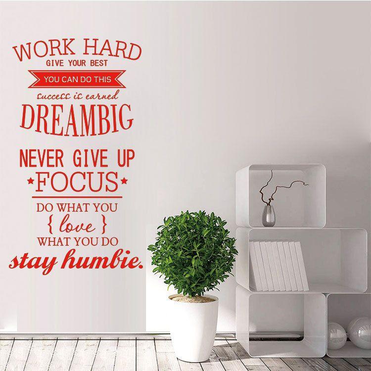 Work Hard Dream Big Focus Words Wall Sticker Word Wall Decor Vinyl Wall Quotes Wall Quotes