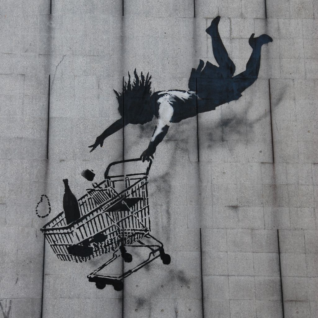 Shop till you drop Banksy wall, street, & bomb