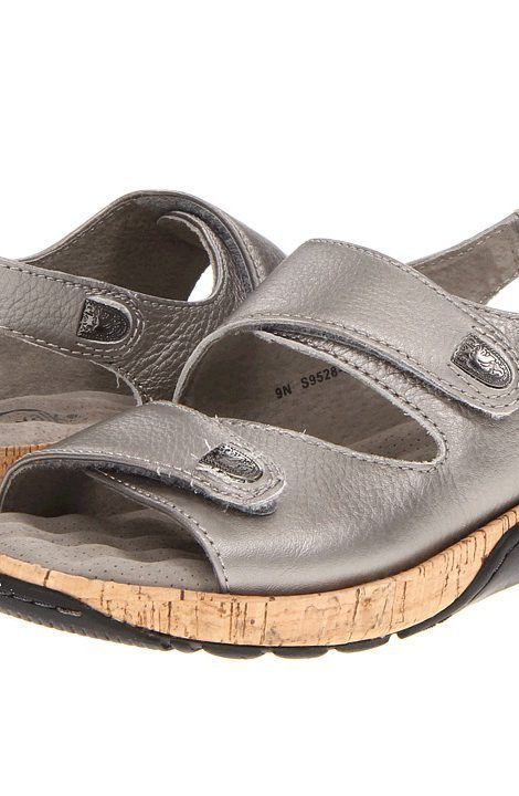 SoftWalk Bolivia (Soft Pewter Metallic Soft Tumbled Leather w/ Cork Bottom)  Women's Sandals