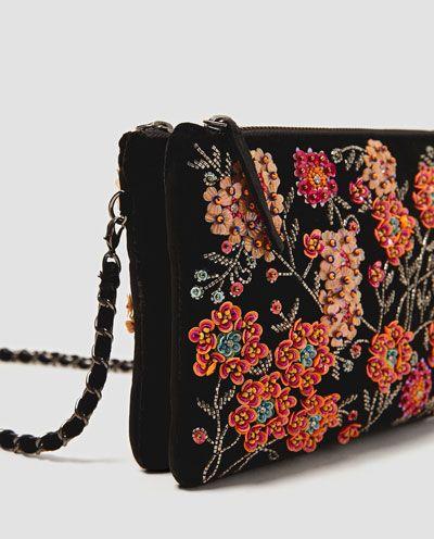 Embroidered Velvet Handbag From Zara In 2019 Beaded Bags