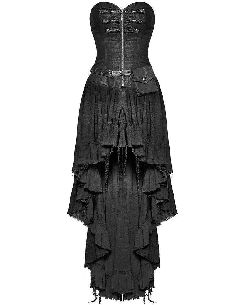 11060bcdca8f Stunning new gothic maxi dress by Punk Rave. Beautifully fitted bodice cut  from distressed effect black cotton featuring front zipper opening