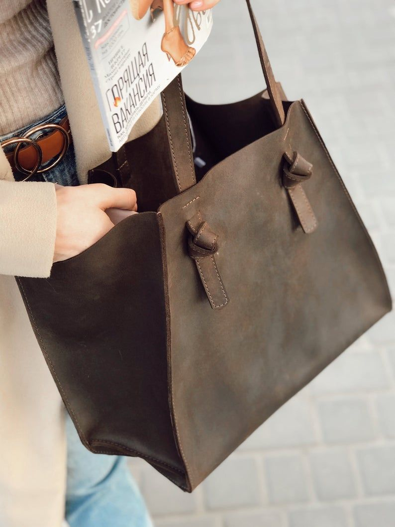 Photo of Brown Leather Tote, Leather Tote Bag, Pull up leather tote, Large Brown Tote, Tote Bag With Pockets, Leather Tote Pocket For Women