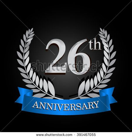 th anniversary logo with blue ribbon years signs illustration silver wreath stock vector also rh pinterest