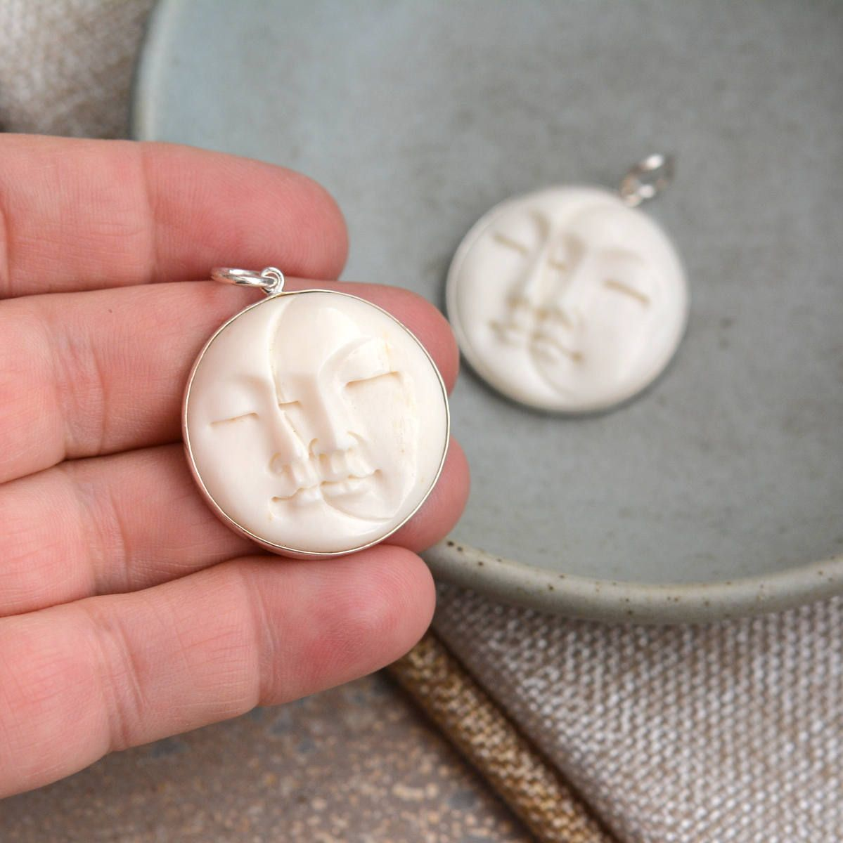 Carved Bone Moon And Sun Pendant Bali Moon Face Sterling Silver Bone Carving Sun And Moon Pendant St17 030 Bone Carving Moon Pendant Diy Jewelry Making Supplies