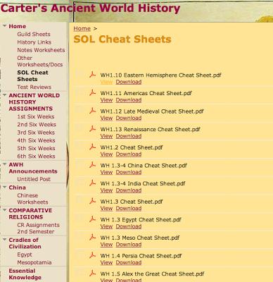 World History Teachers Blog: Cheat Sheets for World History