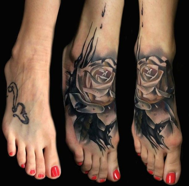 tattoo fuss schwarze rose 3d tattoo pinterest tattoo. Black Bedroom Furniture Sets. Home Design Ideas