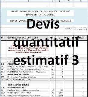 Devis quantitatif estimatif b timent en excel ourybat 6 en 2019 devis batiment batiment et - Prix des gros oeuvres maison ...
