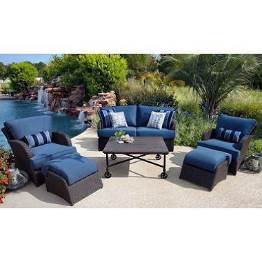 Kingston 6 Piece Natural Wood Outdoor Patio Deep Seating Set 1599 Outdoor Backyard Furniture Outdoor Furniture Sets