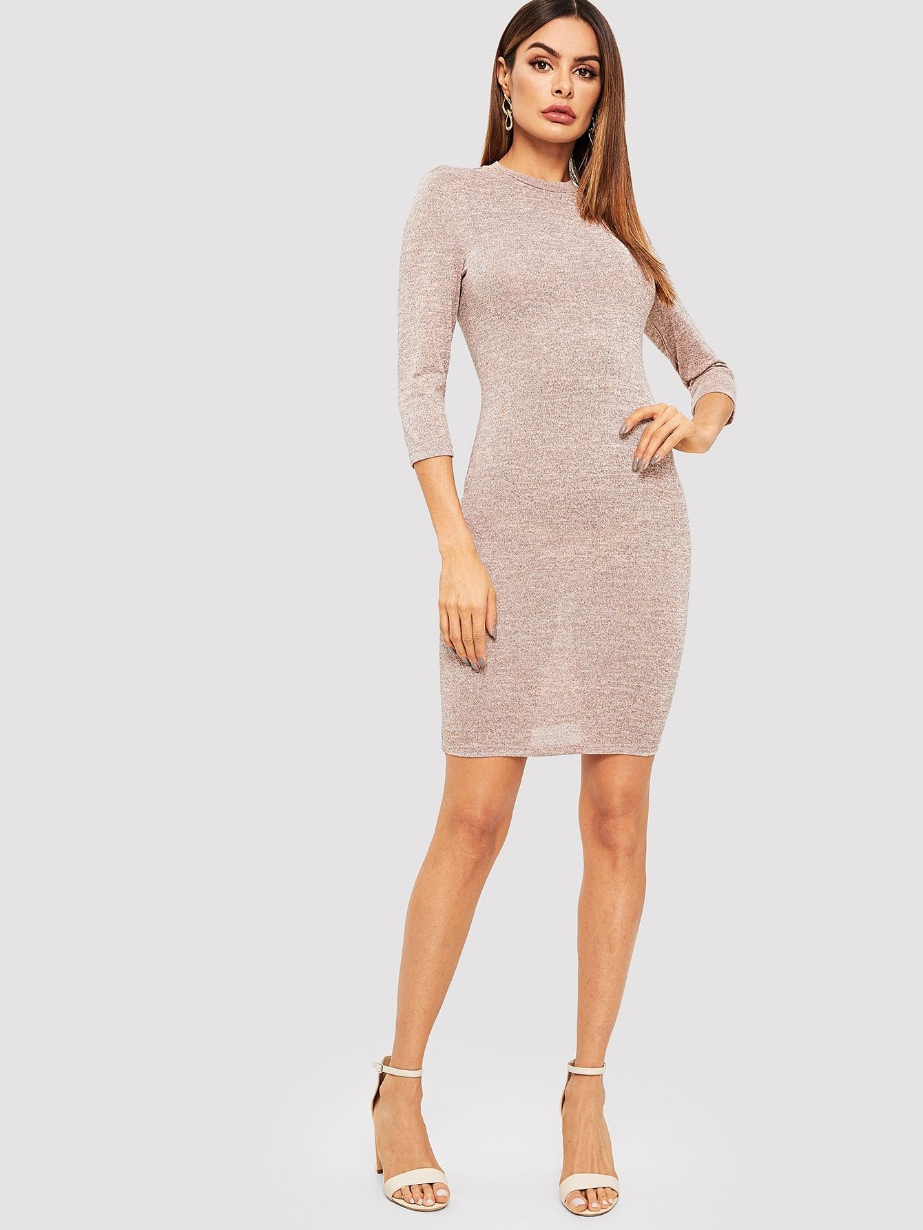 0483ba416e95 Casual Plain Sheath Round Neck Long Sleeve Natural Pink Short Length Long  Sleeve Solid Bodycon Dress