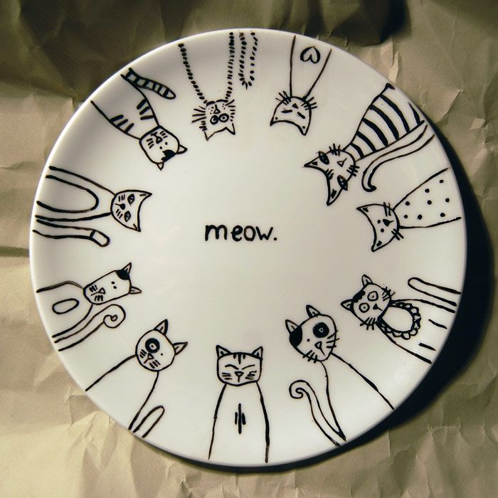 How to Decorate Dinnerware With Sharpie & How to Decorate Dinnerware With Sharpie! | Cat Pottery and Sharpie