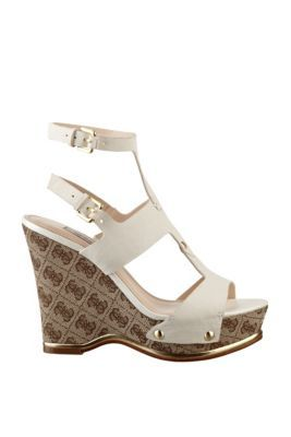 Lanat Double-Strap Wedge Sandals at Guess