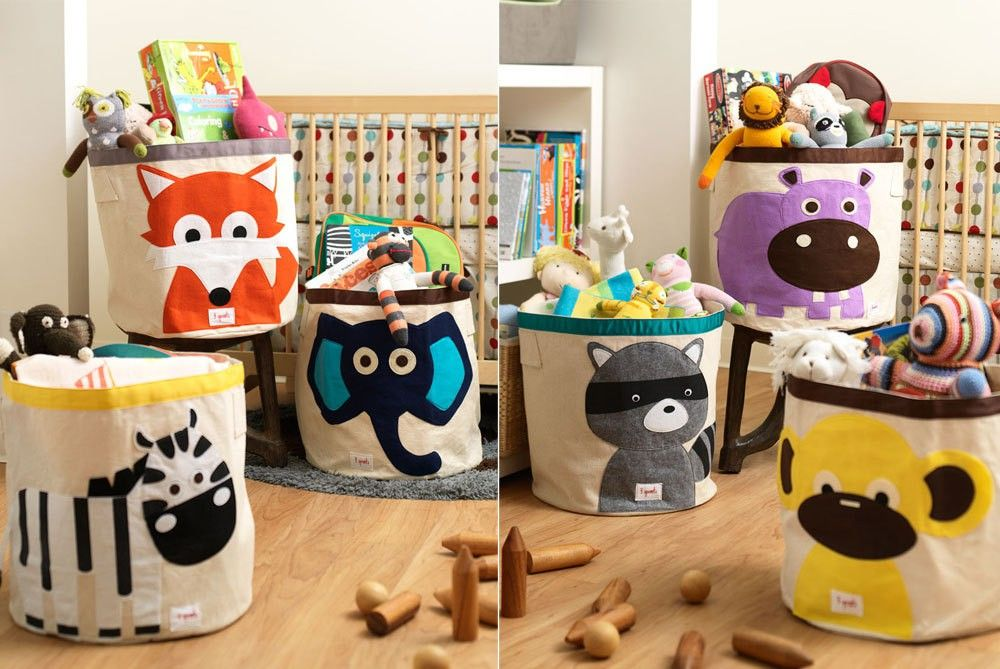 3 Sprouts Animal 100% Cotton Canvas Storage Bin