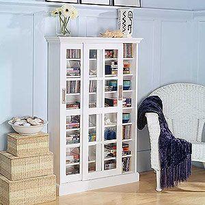 Superb White Sliding Door Media Cabinet   Living Room Furniture  Furniture   World  Market