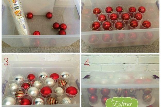 Consejos para guardar tus adornos navideños Ideas para Organizar - objetos navideos