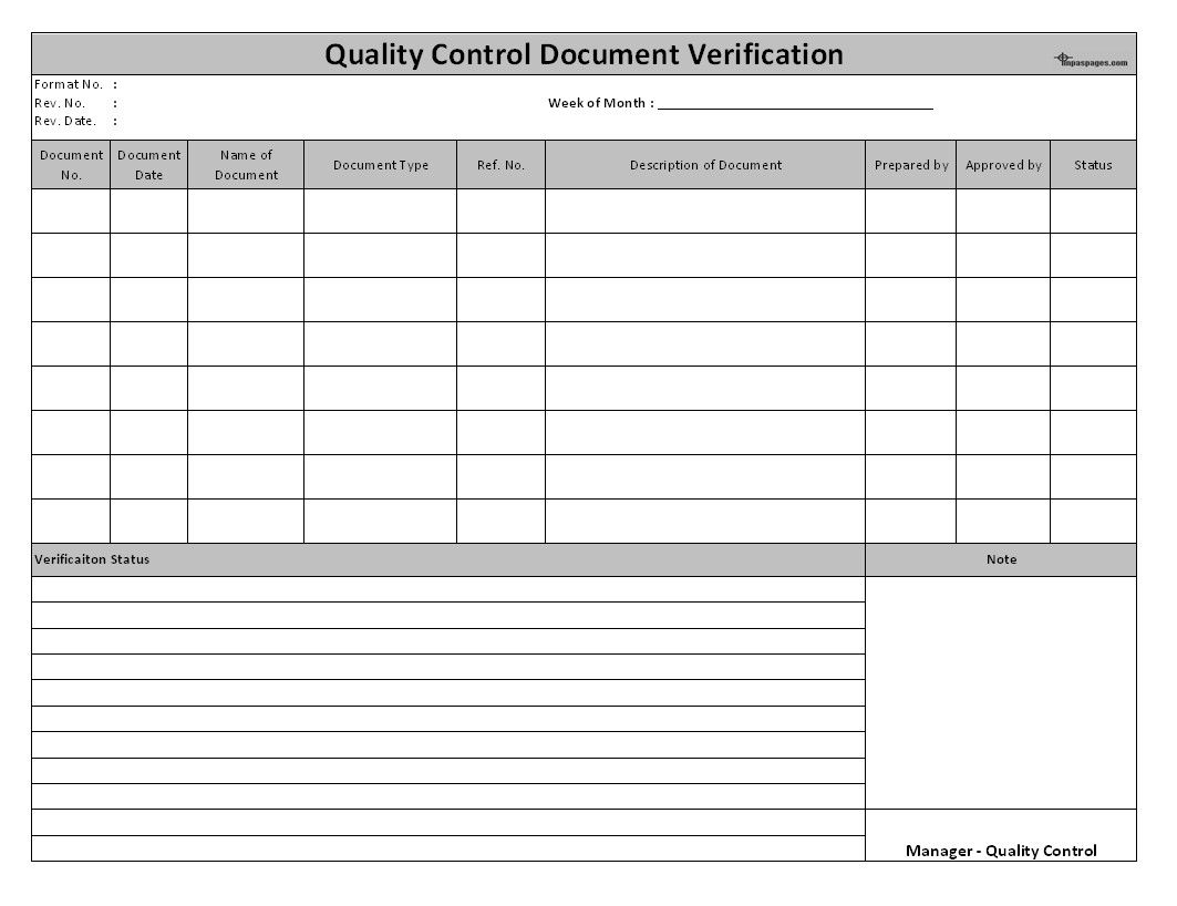 28 Quality Control form Template in 2020 Templates