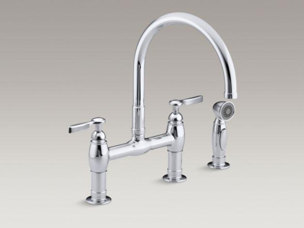 KOHLER | K-6131-4 | Parq Deck-Mount Bridge Kitchen Sink Faucet with Sidespray
