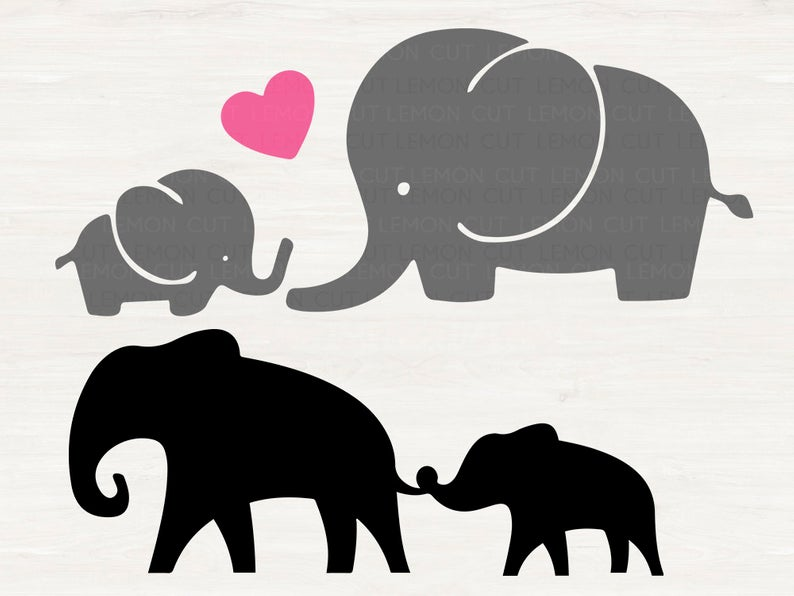 Elephants Svg Mom And Baby Elephant Svg Eps Dxf Png Etsy Baby Elephant Drawing Baby Silhouette Elephant Silhouette