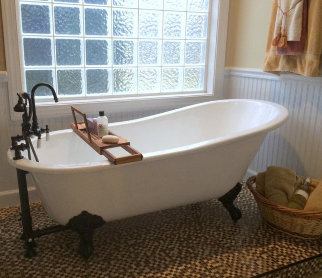 Glass Wall For Small Bathroom Ideas With Cast Iron Clawfoot Tub Alluring Bathroom With Clawfoot Tub Ideas Design Inspiration