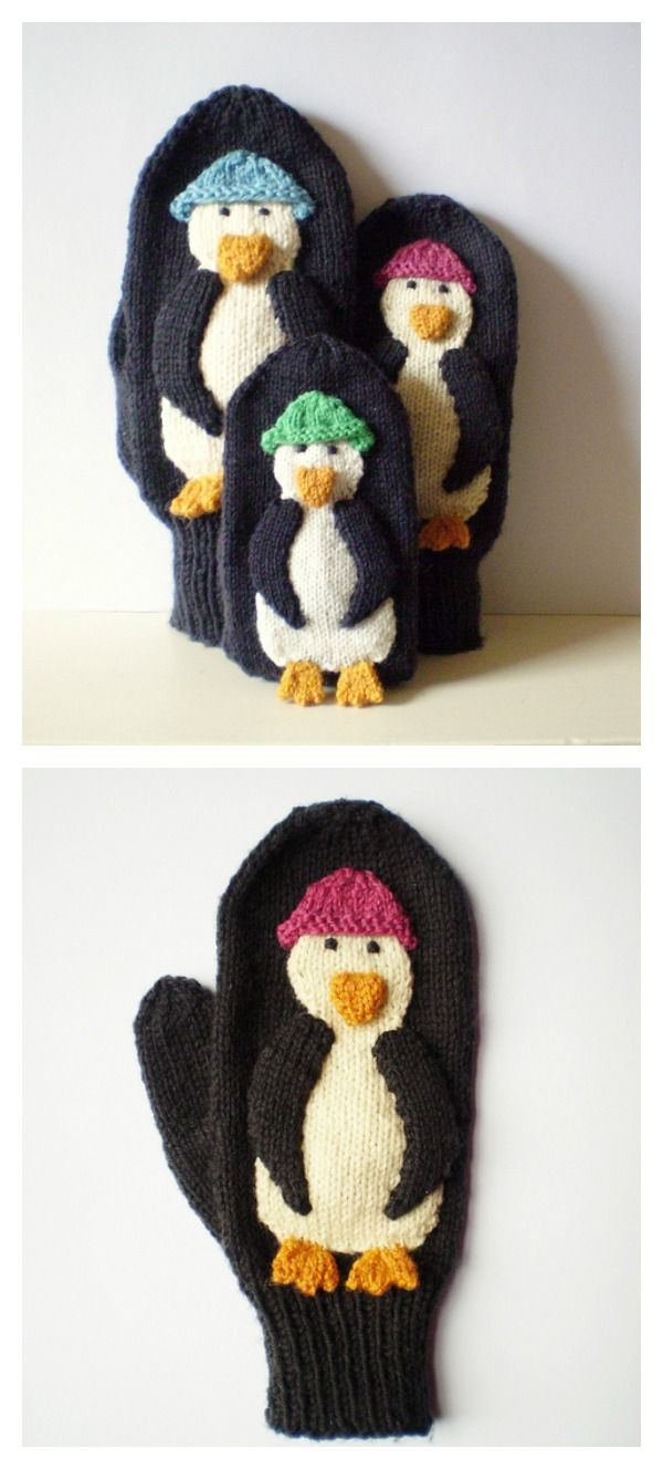 Cute Penguin Mittens Free Knitting and Crochet Patterns | Mittens ...