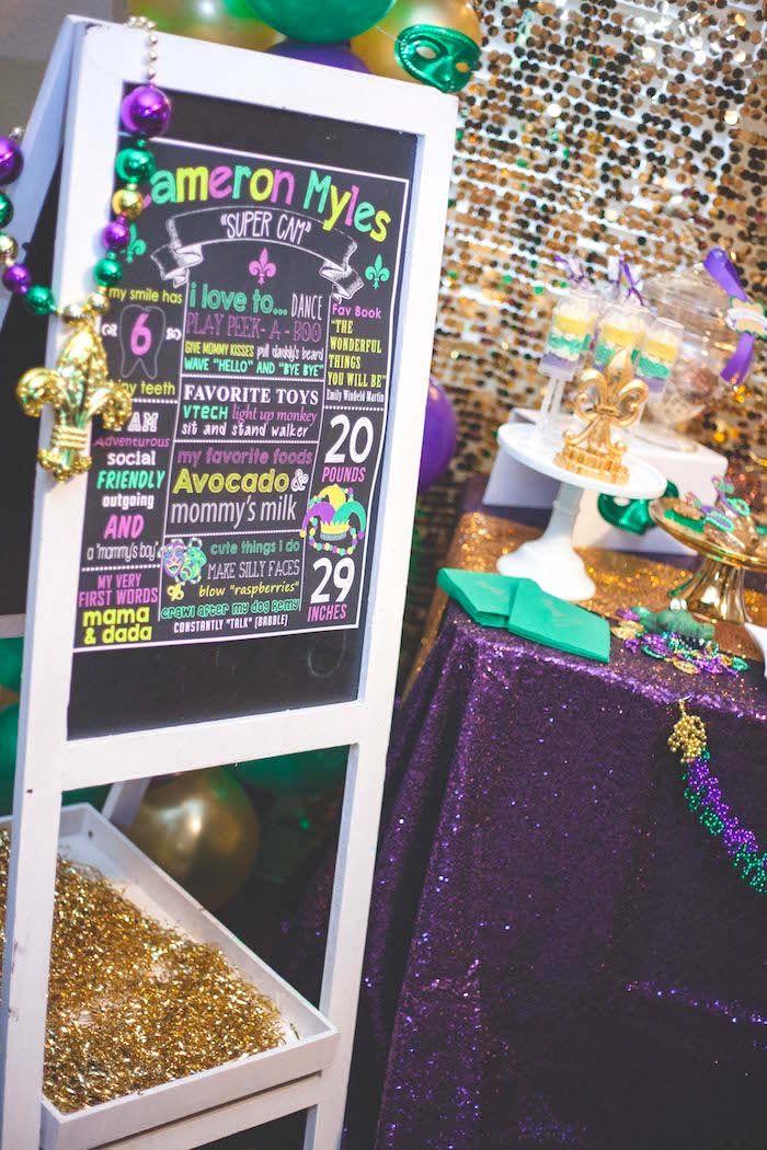 Fact Board From A Mardi Gras Themed Birthday Party On Karas Party Ideas Karaspartyideas Com