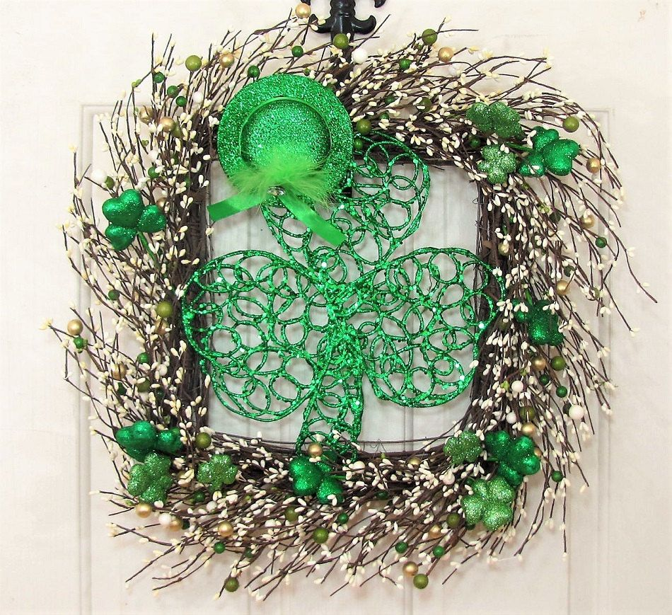 READY To SHIP   Square Storm Door Wreath   St. Patricku0027s Day Wreath    Shamrock   Green Berry Wreath   Spring Wreath Front Door Wreath