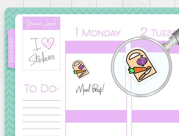 Meal Prep Planner Stickers Planner Stickers Food Stickers