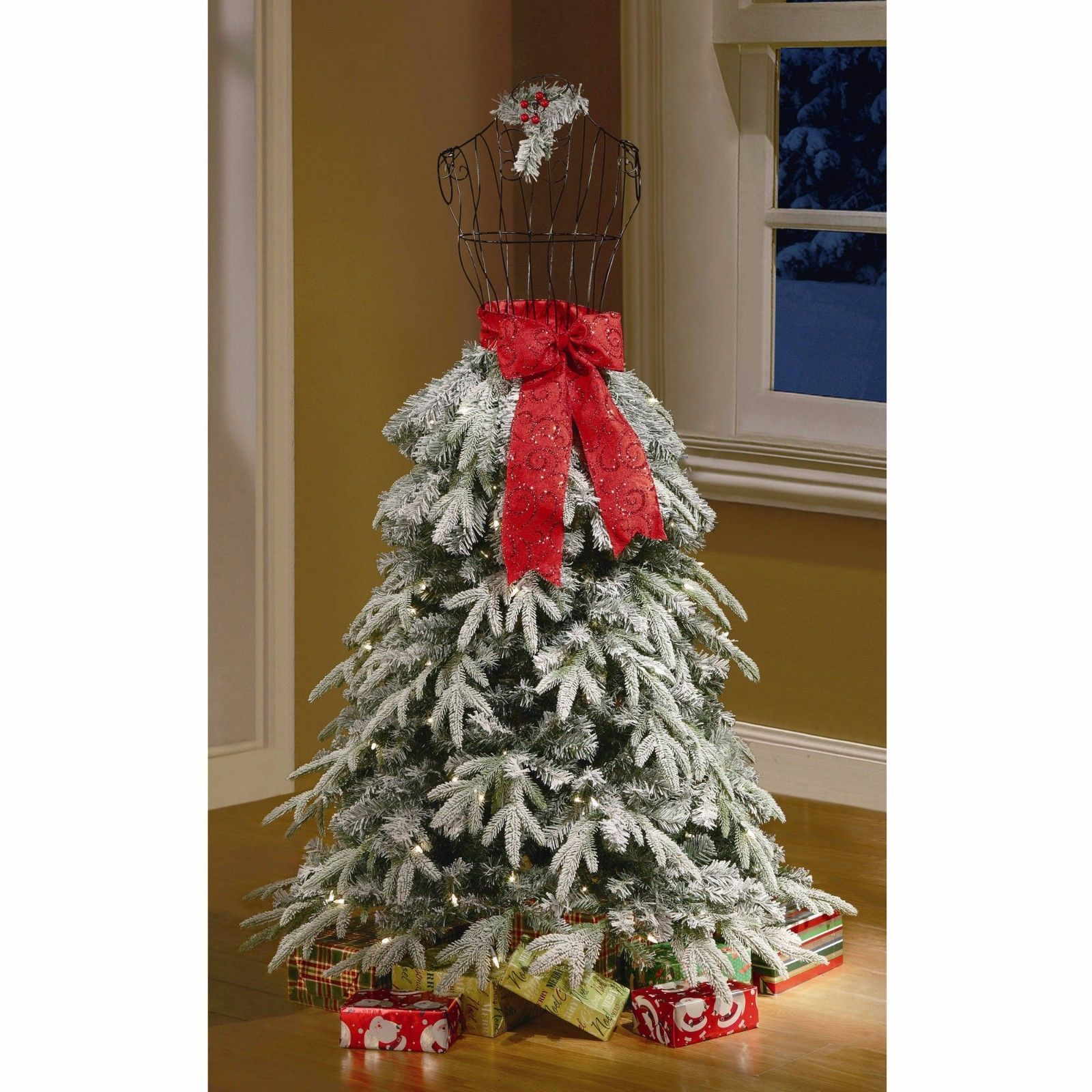 Flocked Christmas Tree Dress Form Mannequin 5 Ft Pre Lit Artificial