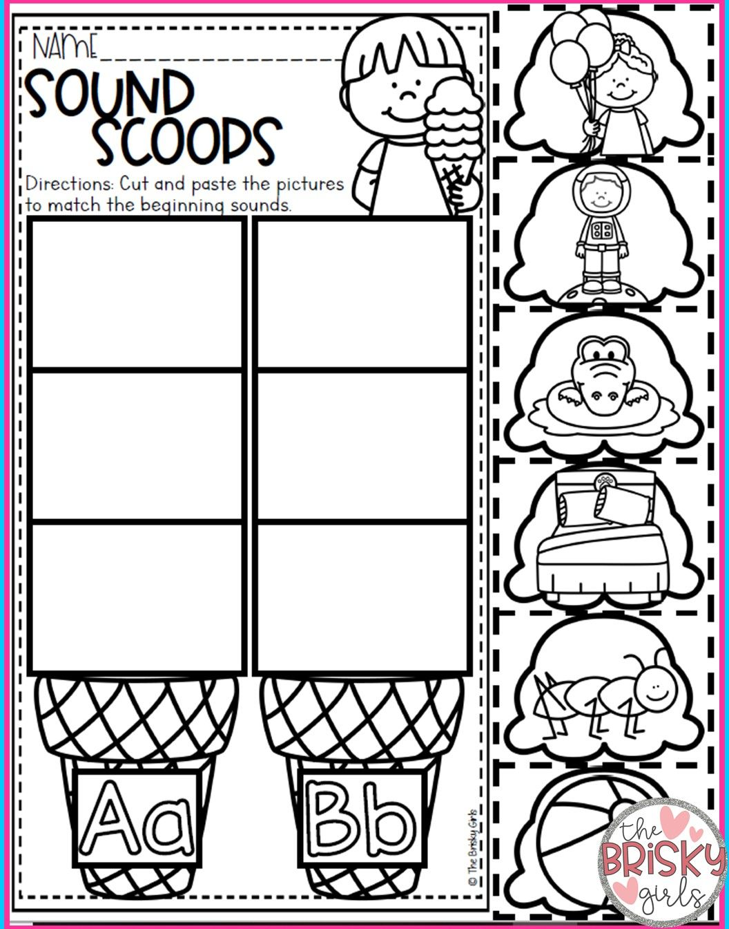 Cut And Paste Beginning Sounds Worksheet