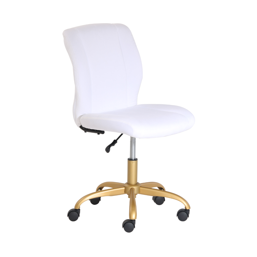 Mainstays Plush Velvet Office Chair White Walmart Com In 2020 Velvet Office Chair Gold Office Chair Office Chair