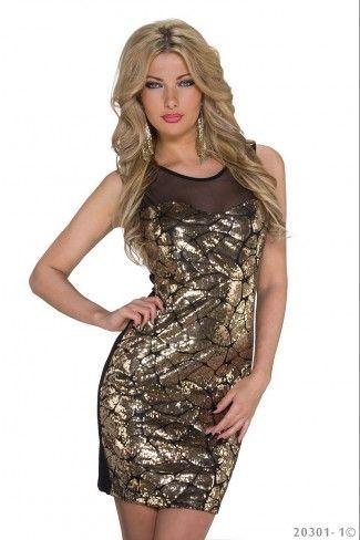 3da09b0cad6a Βραδινό μίνι φόρεμα με παγιέτες - Μαύρο Χρυσό