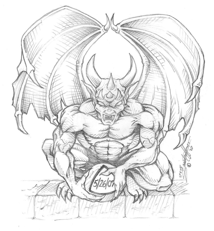 Winged Gargoyle Tattoo On Left Shoulder Real Photo