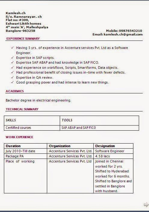 examples of a resume for a job Sample Template Example - sap abap resume