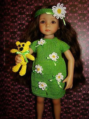 "OOAK green knitted outfit ""Daisy Field"" for Dianna Effner Little Darling 13"""