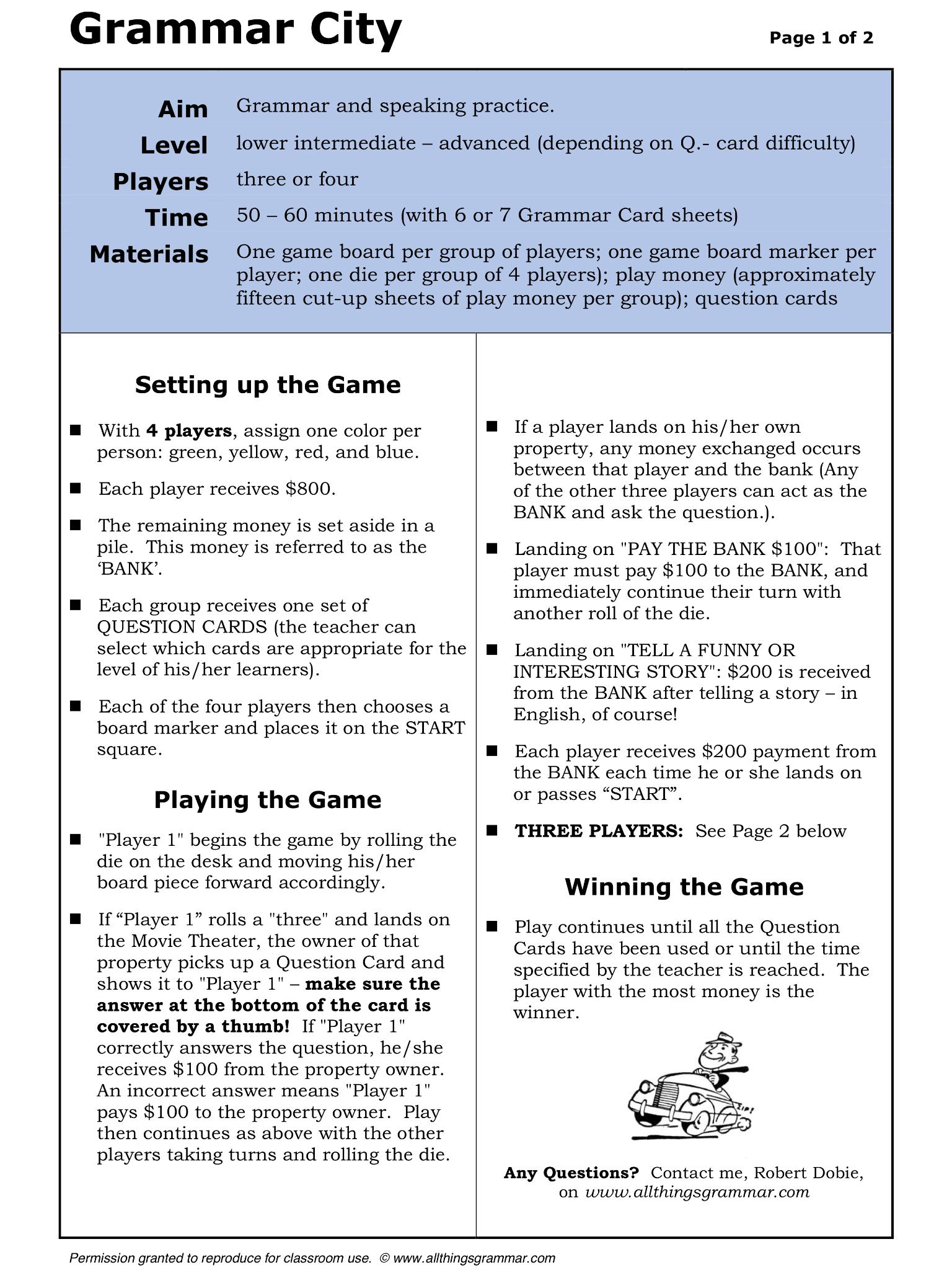 English Grammar City Board Game http://www.allthingsgrammar.com/grammar