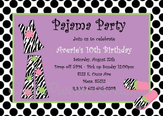 Pajama Party Birthday Invitation Printable or Printed – Free Pajama Party Invitations