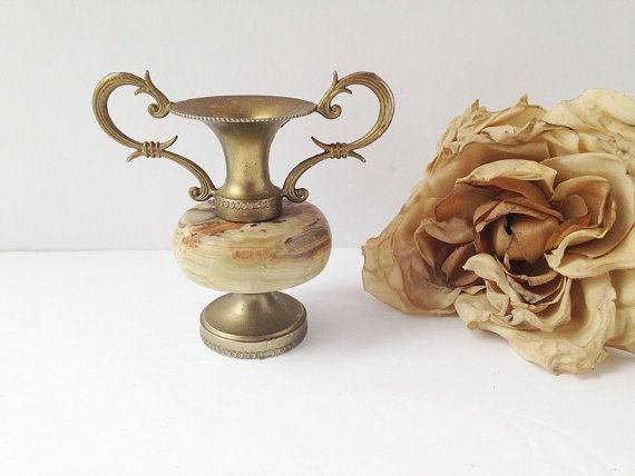 Small Italian Vase With Marble And Handles Metal Vase With Handles
