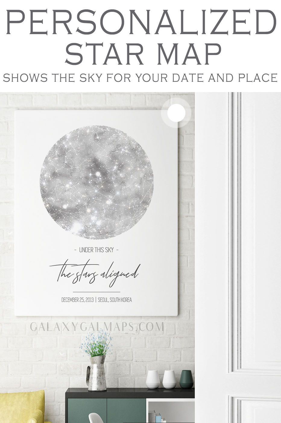 UNIQUE Sky Map for That Special Date Crystal Wall Art