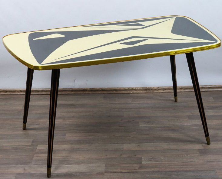 Details zu Alter Couch Nieren Tisch Gelb Schwarz Wohnzimmer - wohnzimmer schwarz gelb