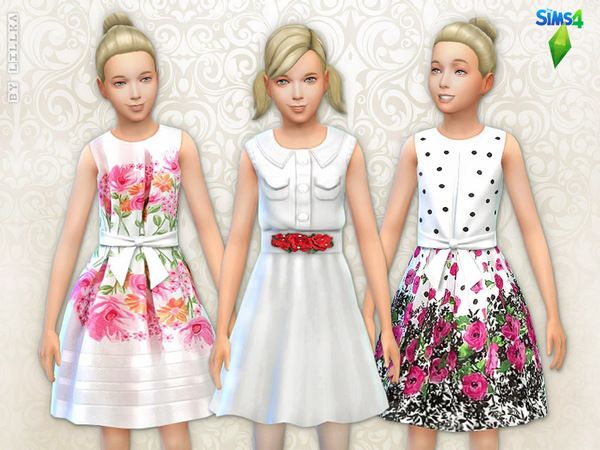 The Sims Resource: Floral Dresses Set by Lillka • Sims 4 Downloads