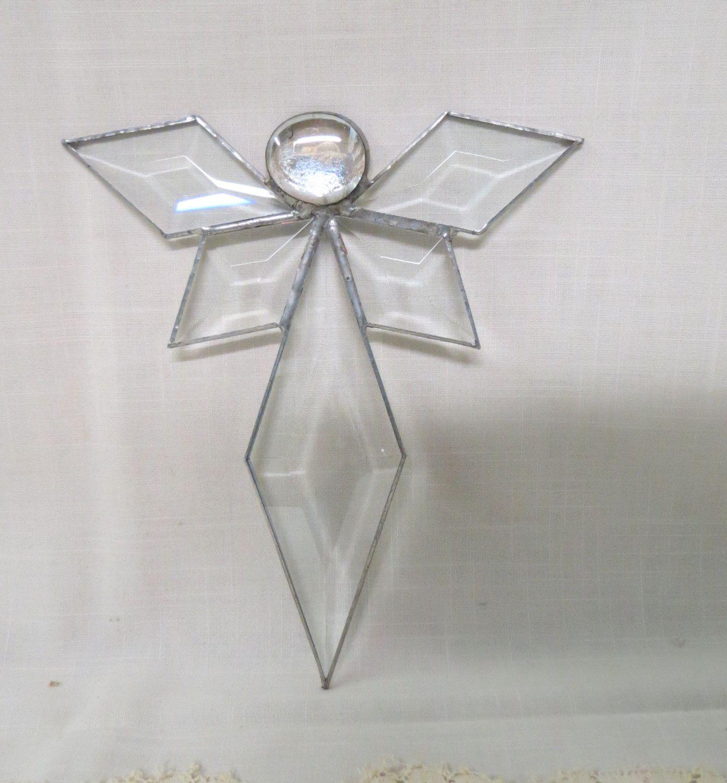 Vintage Religious Christmas Ornament: Vintage Angel Ornament Beveled Glass Christmas Ornament
