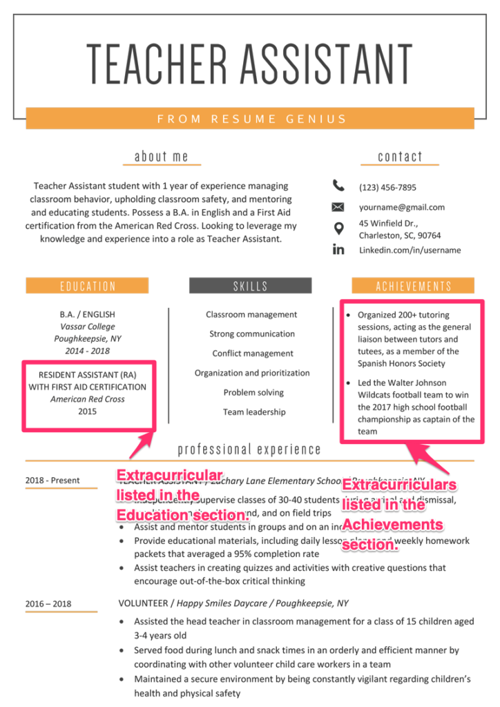 Extracurriculars On A Resume 8 Examples Tips Resume Genius Resume Student Government Teacher Assistant
